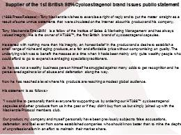 Supplier of the 1st British 98% Cycloastragenol brand issues public statement