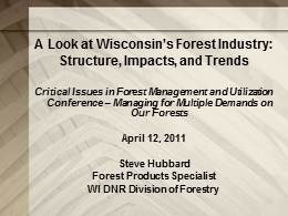 Overview of Wisconsin's Forests - Economic Trends and Impacts