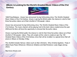4Music is Looking for the World&#039;s Greatest Music Videos of the 21st Century