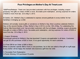 Four Privileges on Mother's Day At Tmart.com.ppt