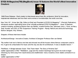 EYES IN Magazine(TM) (MagBook) issue 19 features the World&#039;s Most Innovative Creators