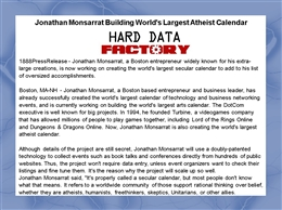 Jonathan Monsarrat Building World&#039;s Largest Atheist Calendar